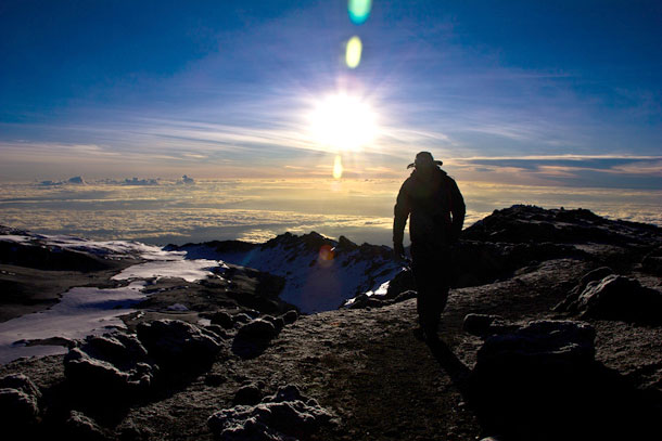 "Sunrise as we're climbing"""
