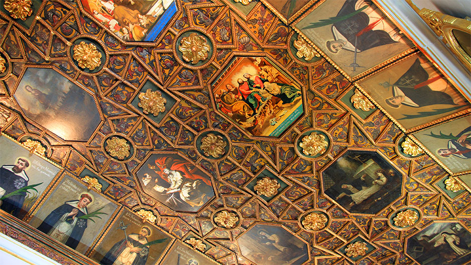 The ceiling in Santo Domingo Church has many beautiful designs and paintings.
