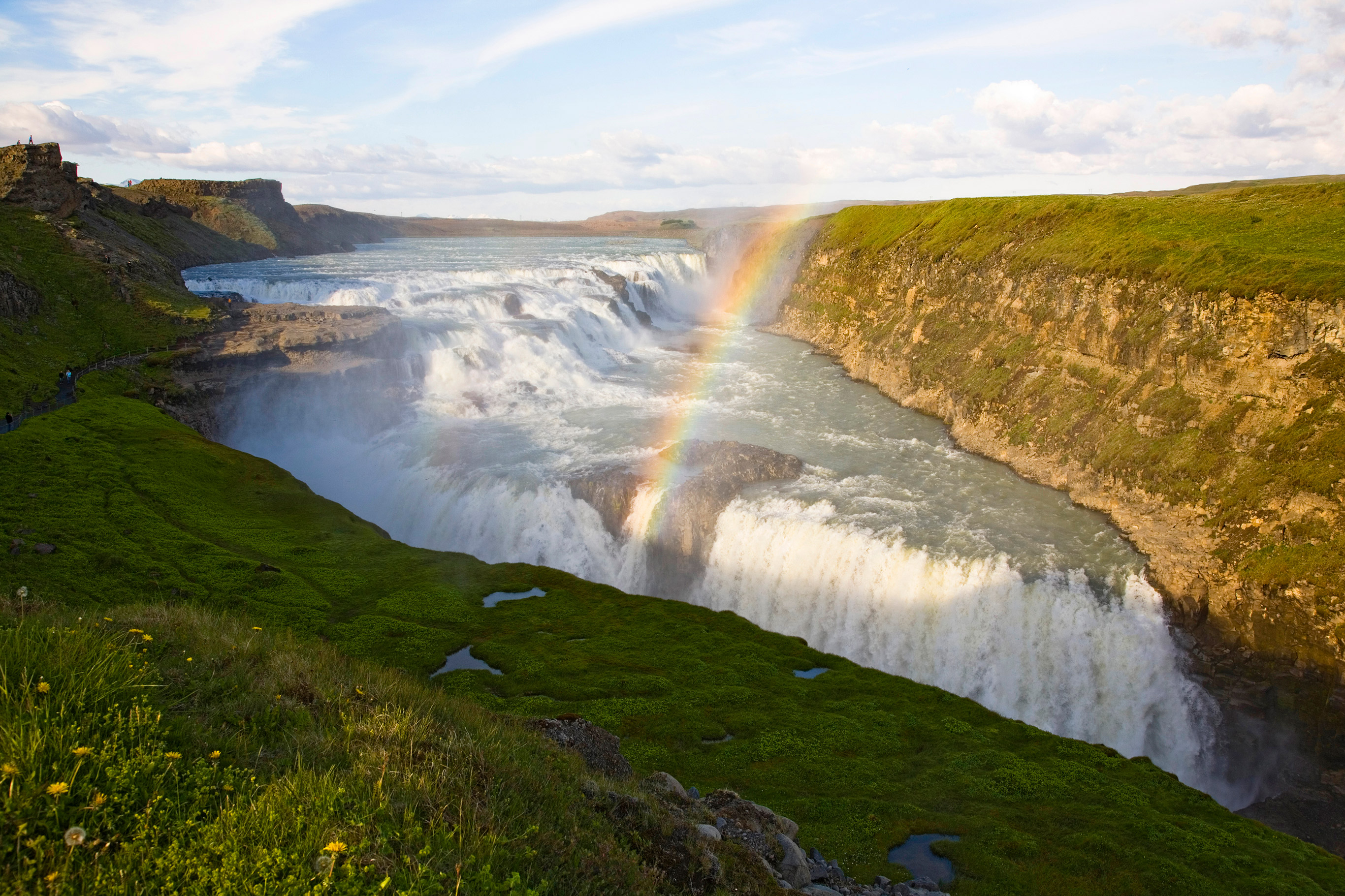 The might Gullfoss Falls typify Iceland's landscape.