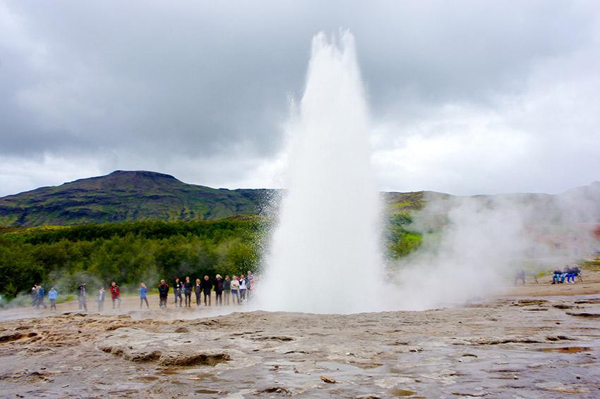 A geyser in Haukadalsvegur, Iceland.