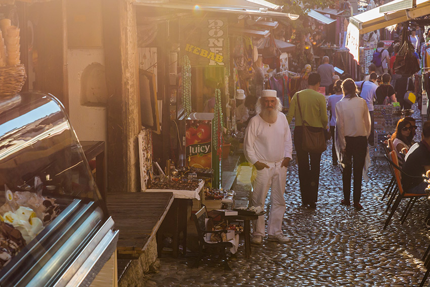 You'll find plenty of shops to wander around in the old town of Mostar.