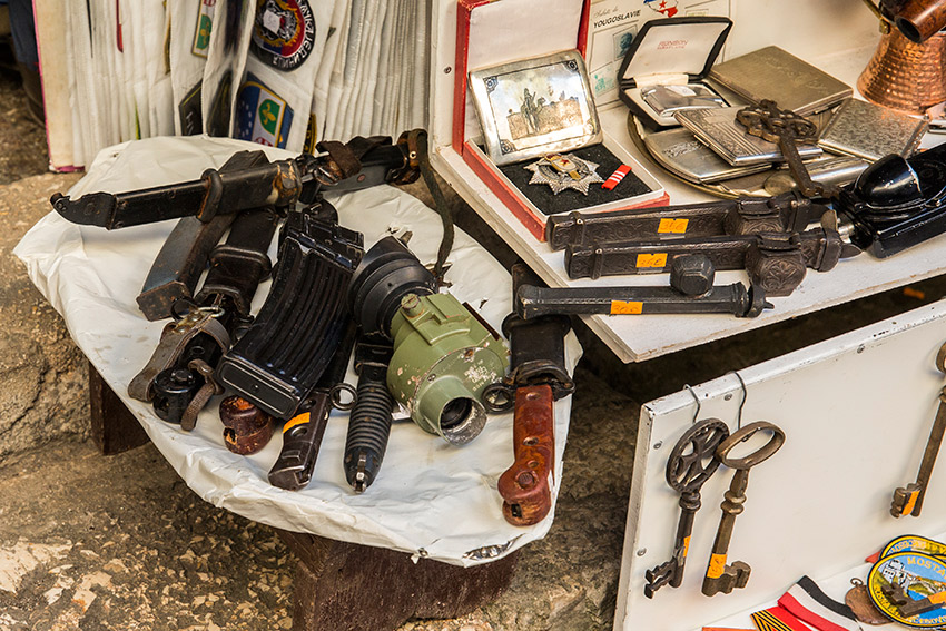 Weapons on display in the streets of Mostar. Relics from a recent and brutal conflict.