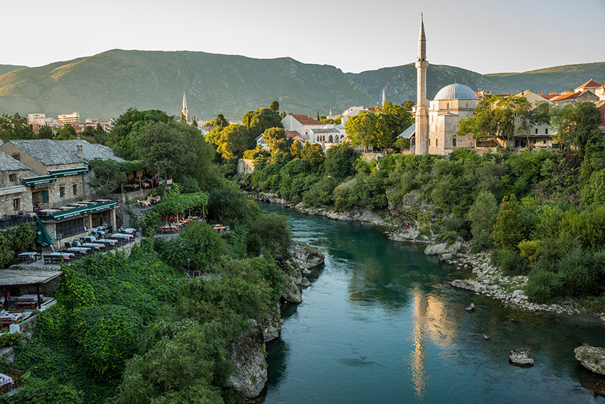 The Neretva river in central Mostar.