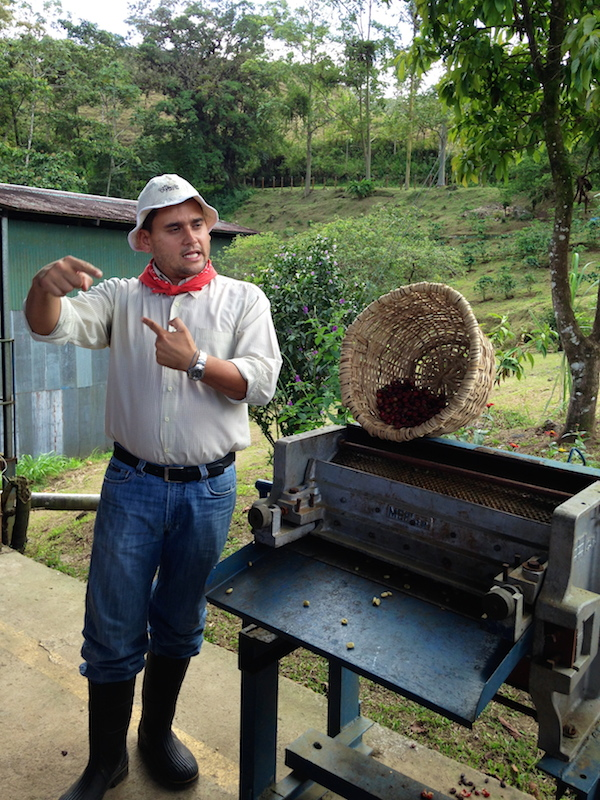 Learning about the roasting process at Mi Cafecito.