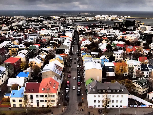 Reykjavik's colourful houses from above