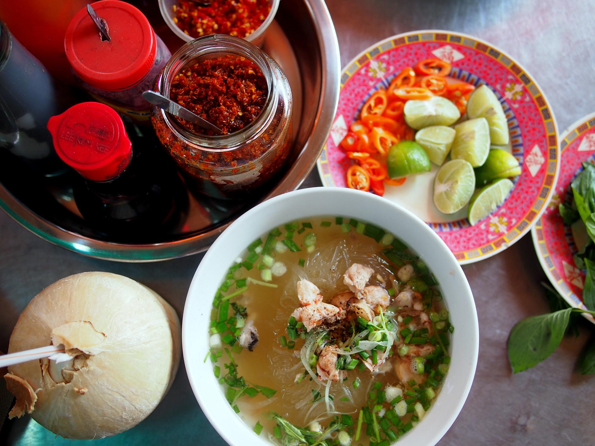Vietnamese *bun rieu* soup. Photo courtesy Jodi Ettenberg.
