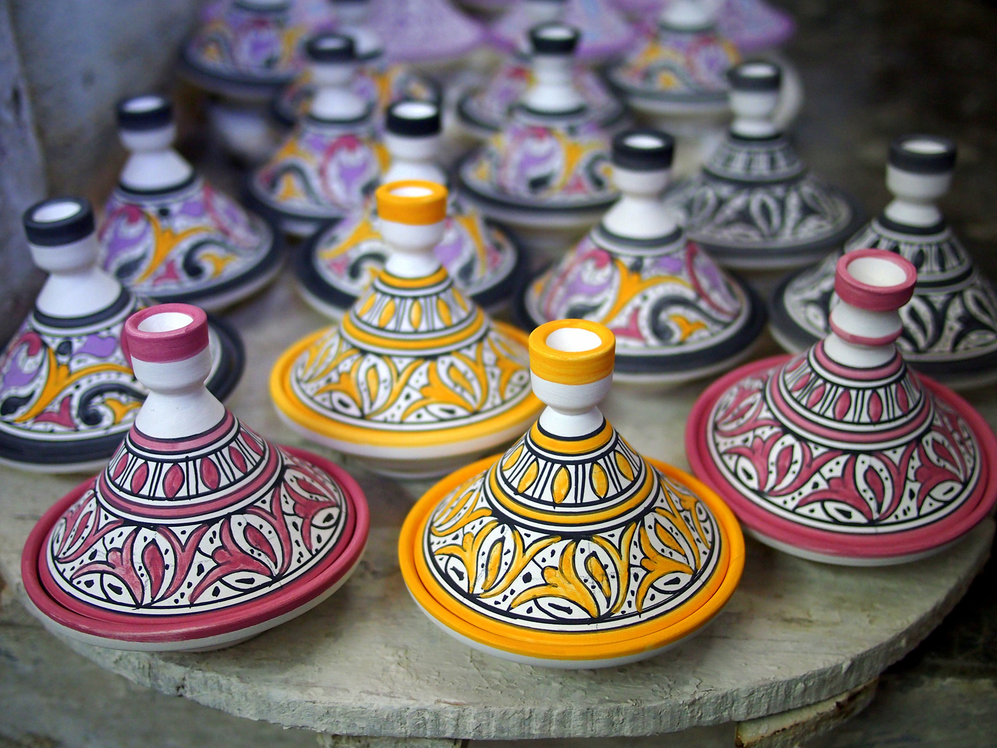 Decorative tagines from Fez, Morocco.