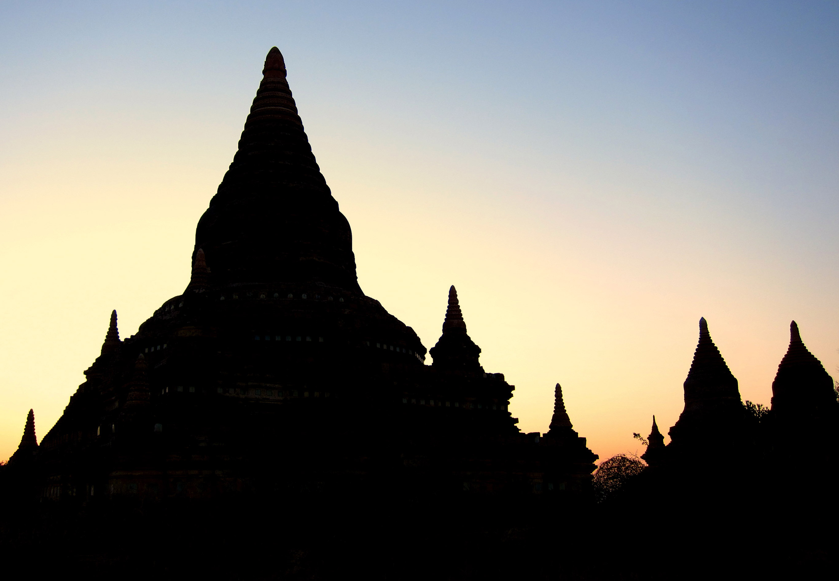 Dawn over the temples of Bagan, in Burma.