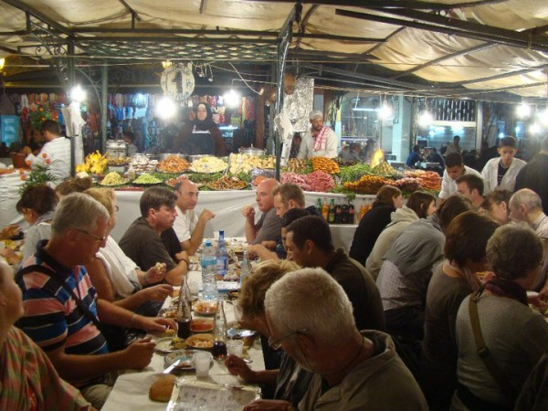 Adventurous eating at Djemaa el Fna Square - where you can order anything from snails to goat brain.