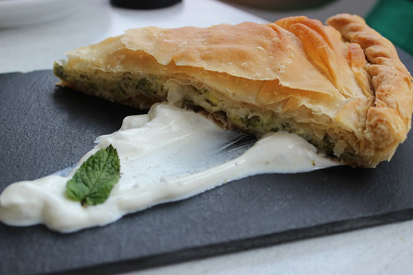 Fresh Spinach Pie on Paros.