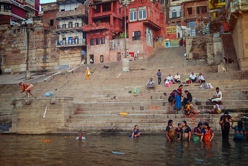 Rituals are performed along the length of the ghats in Varanasi.