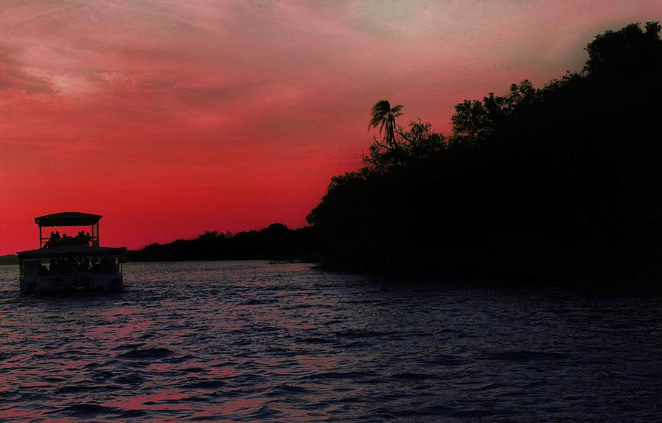 Sunset cruise on the Zambezi River in Zimbabwe.