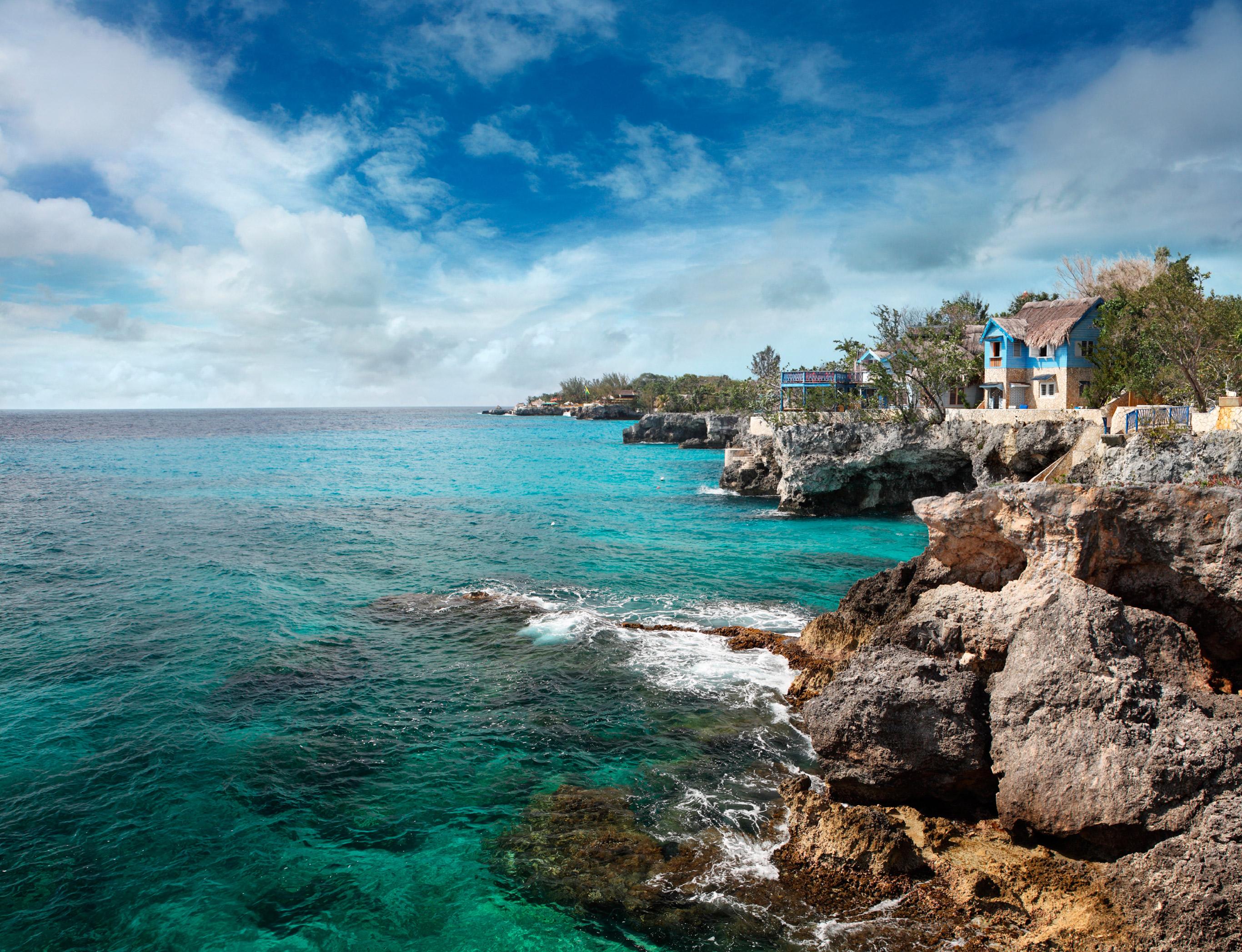 Jamaica's rocky shoreline in Negril.
