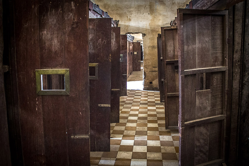 Inside of the Tuol Sleng Genocide Museum.