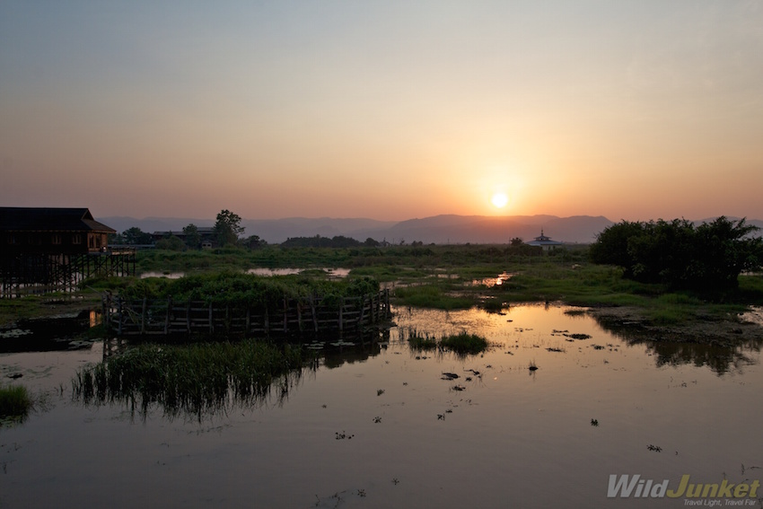 Sunrise on Inle Lake.