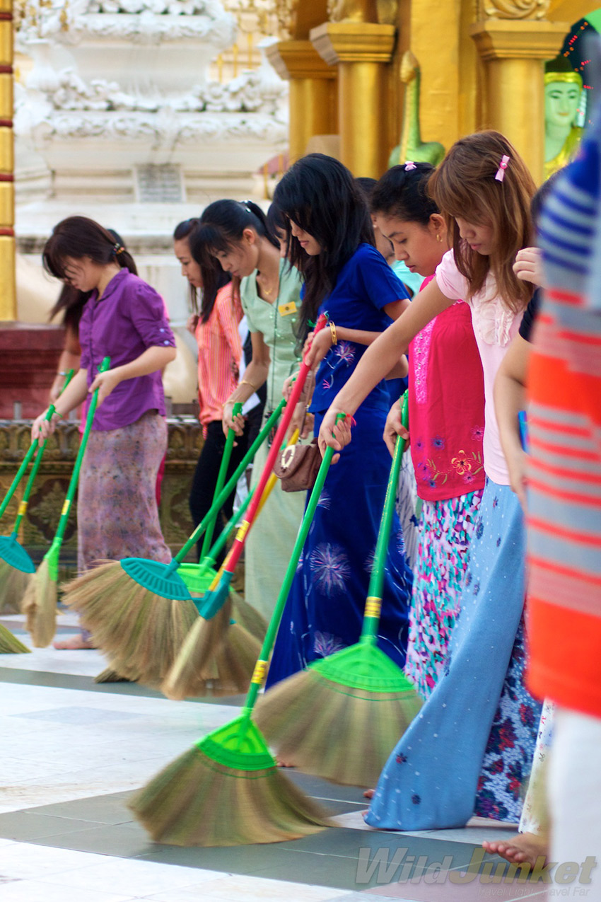 Ladies sweeping away their bad luck to welcome the new year.