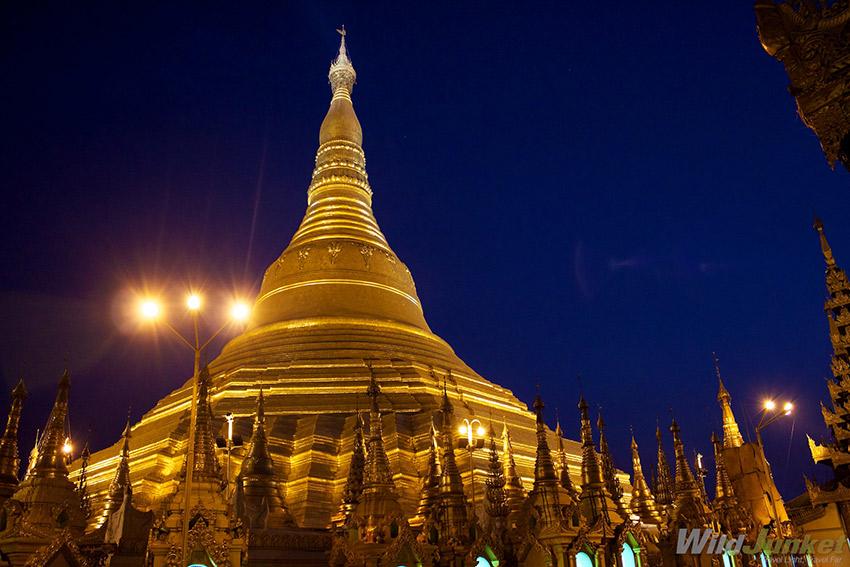 Shwedagon Paya by night.