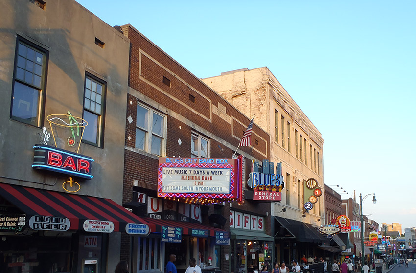 Iconic Beale Street in Memphis.