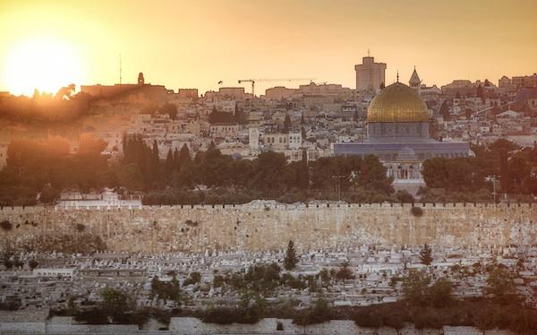 Jerusalem at sunset.