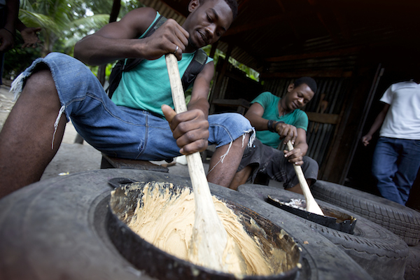 Preparing a very sweet and delicious Haitian dessert called Dous Makos.