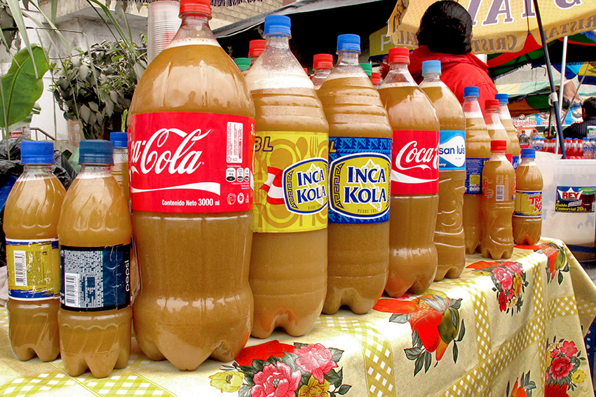 Chicha de Jora for sale in the market. Photo courtesy Americas Quarterly.