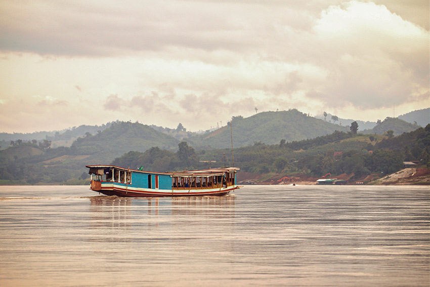 A boat on the Mekong River at Pak Beng.