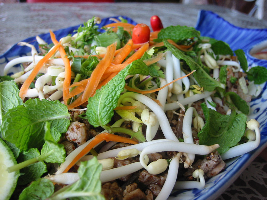 Try some larb, a delicious mix of marinated fish or meat with herbs, spices and greens. Photo courtesy mswine.