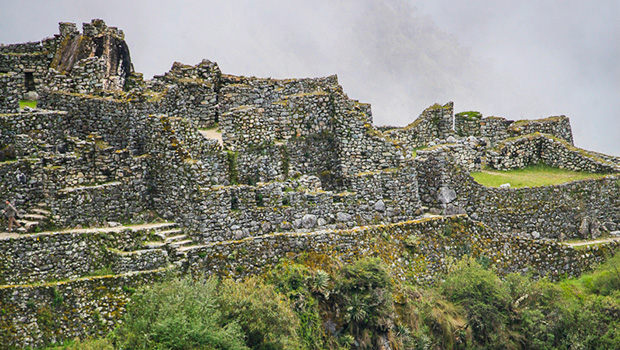 The ruins under the fog
