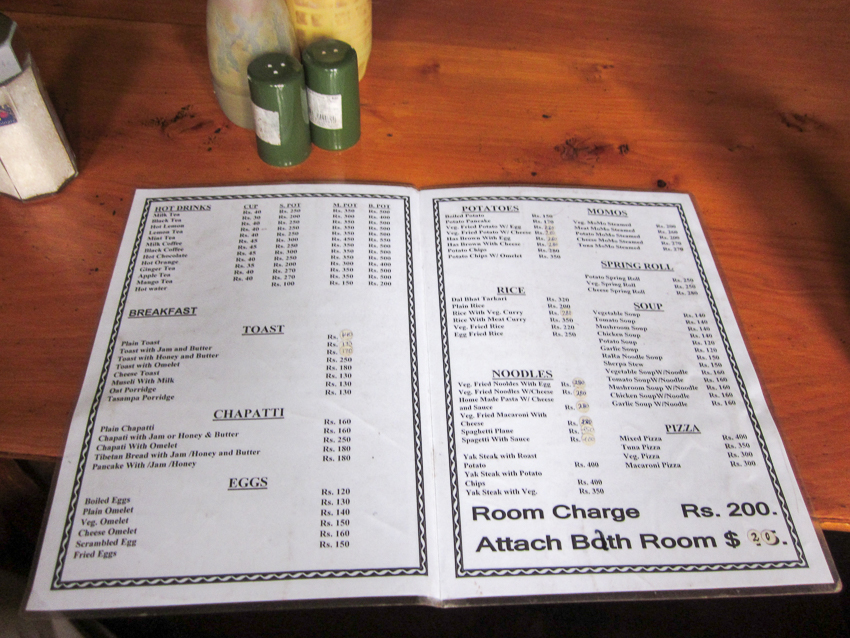 The menu from the teahouse offered simple yet delicious meals.
