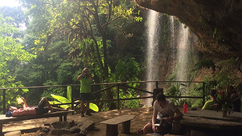 Here is our cave camp behind a waterfall. Photo courtesy Lauren Andre.