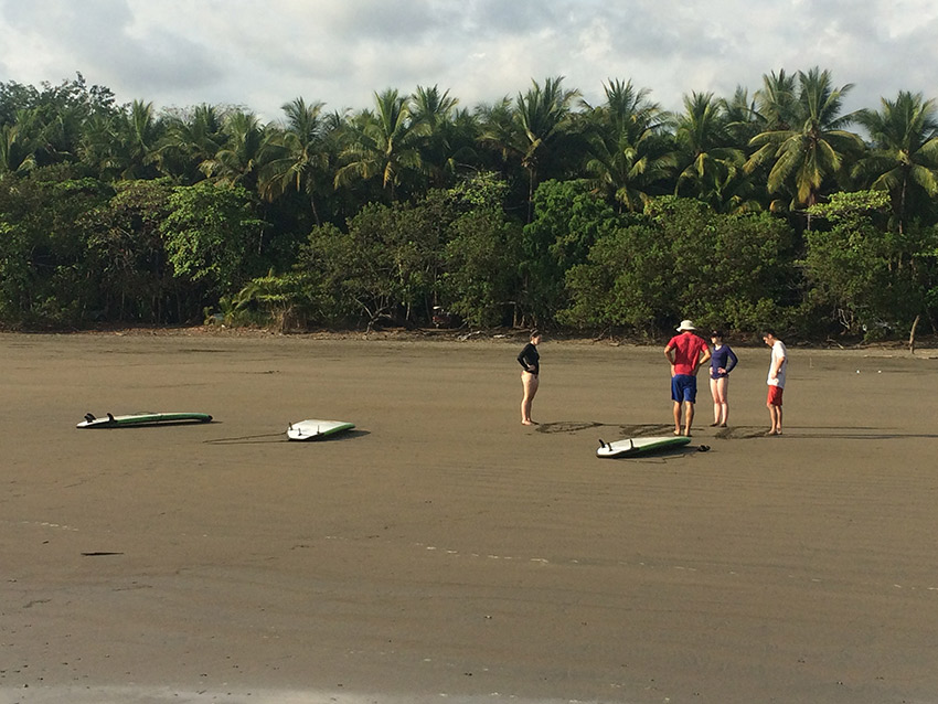 Taking a surf lesson in Uvita. Photo courtesy Lauren Andre.