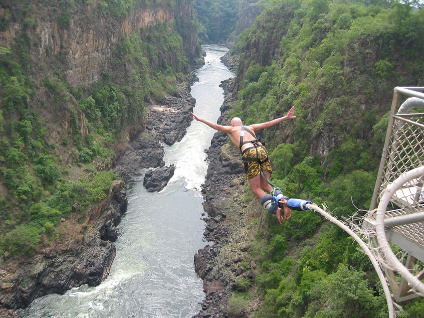 Taking the 111m or 364 ft jump at Victoria Falls. Photo courtesy On the Go.