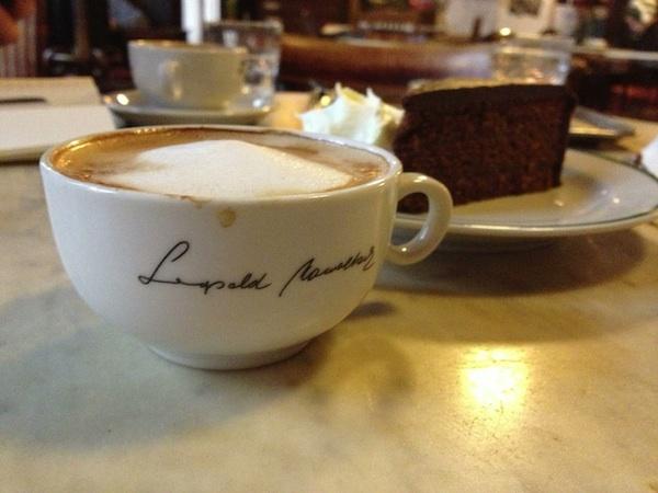 Cappuccino and Sacher torte at Café Hawelka.