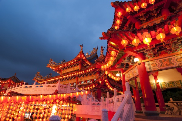 Malaysia temple decorated for the Chinese New Year. Photo Credit Yuliang.