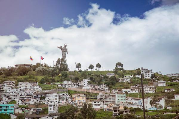The statue of El Panecillo stands tall above the Andean city of Quito.