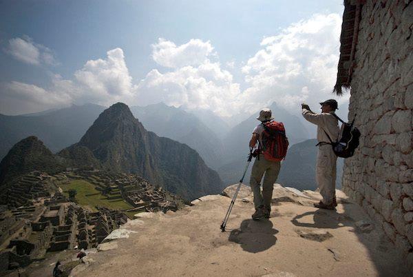 Inca Trail trekkers get their first glimpse of Machu Picchu.