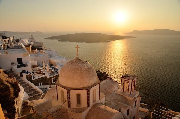 Sunset from Santorini, Greece.