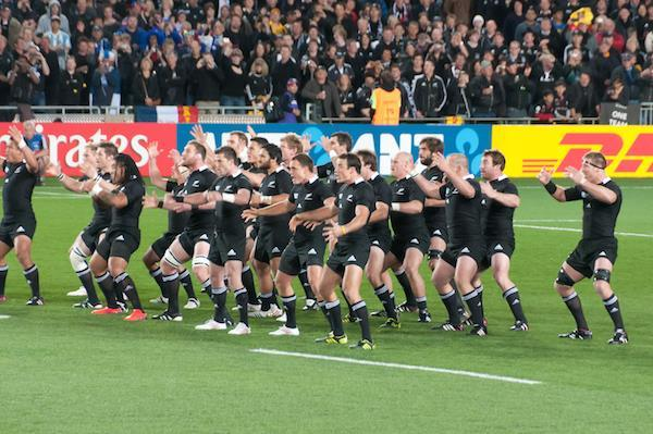 The All Blacks doing the haka before the finals of the 2011 World Cup