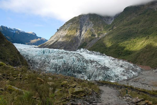 The Fox Glacier on the west side of the South Island of New Zealand.