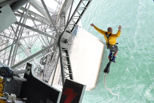 Bungee jumping off Auckland Harbor Bridge in New Zealand.