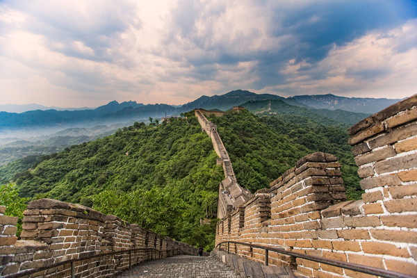 The storied Great Wall of China stretches into the horizon