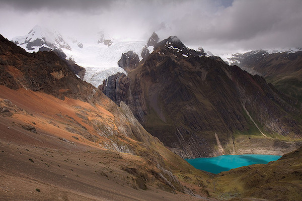 The snow capped peaks and glacial lakes around Huayhuash. Photo by Indrik M.