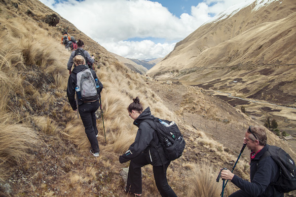 Trekkers make their way along the Lares route.