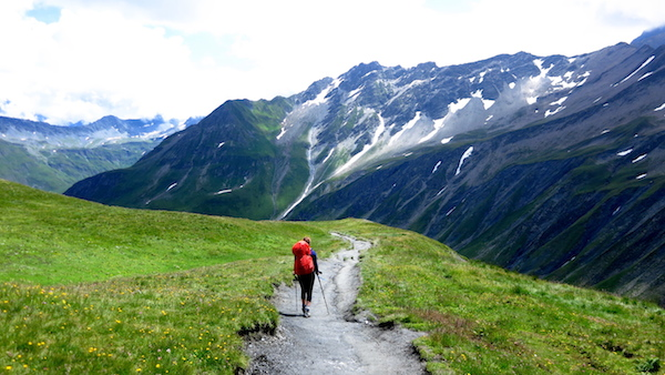 2- The ascents are hard, and the descents are harder. Here we are in Switzerland on a rare flat section.