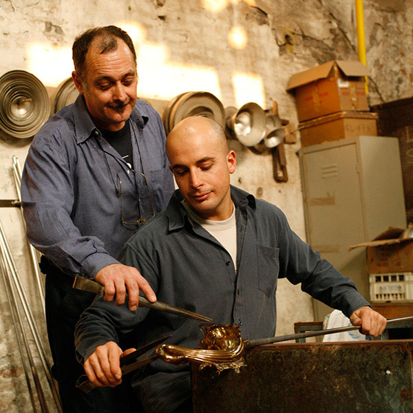 Glass Master Gianni Seguso and his son Marco. Photo courtesy Seguso Gianni.