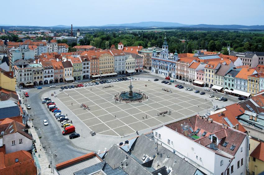 The main square in ?eské Budějovice.