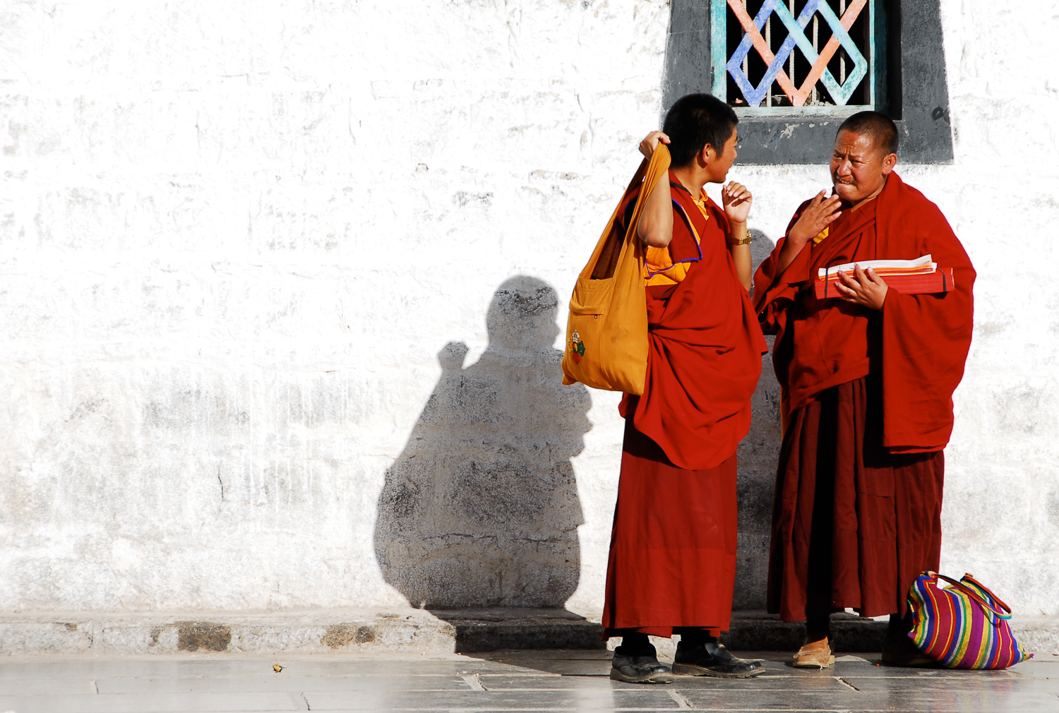 Two monks in traditional three-layered robes, which are known as 'Tricivara' in Sanskrit.