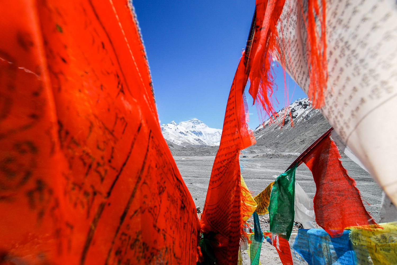 Colourful prayer flags fly at Everest Base Camp.