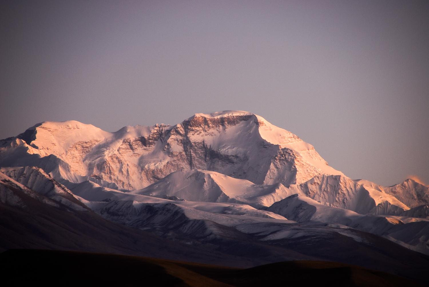 A sunset view of Cho Oyu — the world's sixth-highest mountain— taken from the Tibetan Plateau.