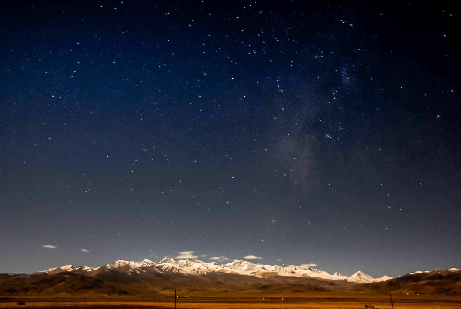 The Himalayas at night, as seen from the Tibetan Plateau.